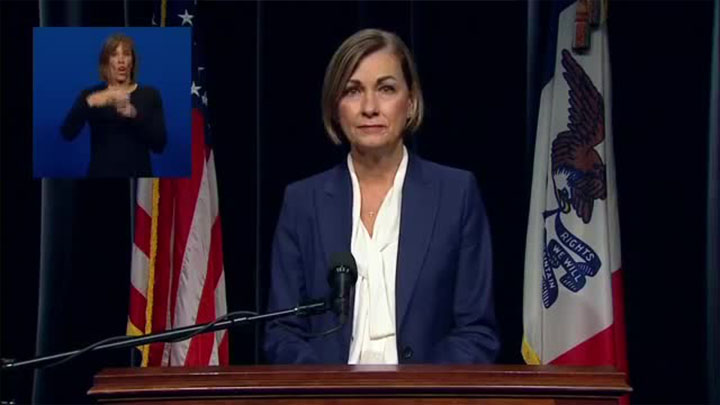 Gobernadora Reynolds emite un nuevo mandato de máscara y restricciones en Iowa a partir de la medianoche